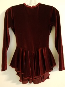 Burgandy dress, warm velour fabric, size adult xs/small, $20