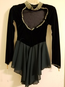 Dark green dress, velvet top, hand beading. Picture is Back of dress. Beads needs some sewing repair on back. Size Adult Small or Medium, not listed. $20.