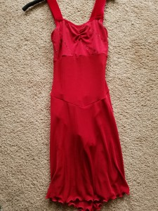 Red dress, dance length, never worn/with tags, size adult medium, $20